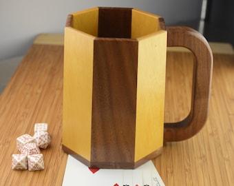 Large Wooden Mug/Tankard/Stein: Walnut, Yellowheart (Octagonal Stavework)