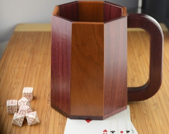 Large Wooden Mug/Tankard/Stein: Purpleheart and Cherry (Octagonal Stavework)