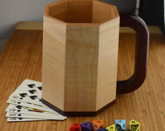 Large Wooden Mug/Tankard/Stein: Curly (Flame) Maple with Purpleheart (Octagonal Stavework)