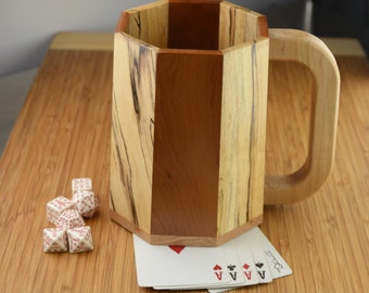 Large Wooden Mug/Tankard/Stein: Cherry and Spalted Maple (Octagonal Stavework)