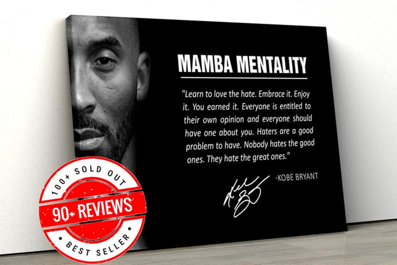 Kobe Bryant Canvas with motivation quote Wall Art Mamba image 0