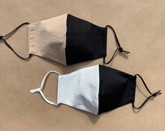Black And White & Black And Nude - Face Mask Unisex Adult Size - Adjustable Knotted Soft Elastic - 2 Layer, Reusable, Washable,