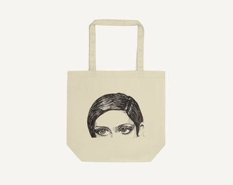 Looking Portrait   Pen & Ink Drawing   Eco tote bag organic cotton