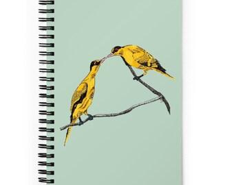 Commitment   line illustration of birds   Spiral notebook