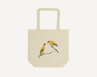 Commitment   line illustration of birds   Eco tote bag organic cotton