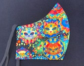 Bright, Cat Sugar Skulls, Colorful, Fitted, Cotton, Fabric mask