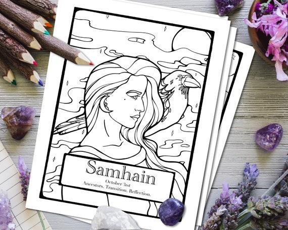 Samhain Coloring Page Sabbat Wheel of the Year Coloring | Etsy
