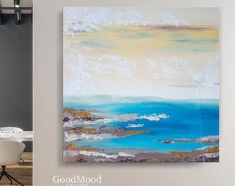 Palms sunset impasto Wall Art by Kseniya Liakhova. Seascape oil painting on canvas Original art sea small painting with a palette knife
