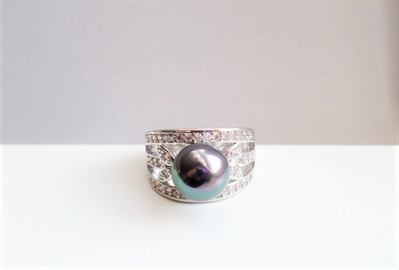 Pearl Engagement Ring# Silver Blue Pearl Ring # Engagement Gift # Wedding # Bridal Gift # Gift for Her# Wife Gift