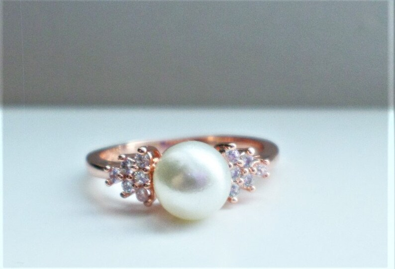 Pearl Engagement Ring # Pearl Cubic Zirconia Ring # Rose Gold Engagement Gift #  Bridal Gift # Gift for Her# Wife Gift