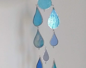 Element of Water Raindrop Stained Glass Suncatcher