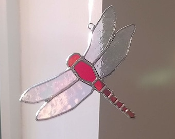Dragonfly Stained Glass Suncatcher Red with Iridescent  Wings