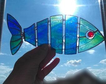 Colourful Fish Stained Glass Suncatcher, Ocean- themed Ornament Boho Fish Room Decor