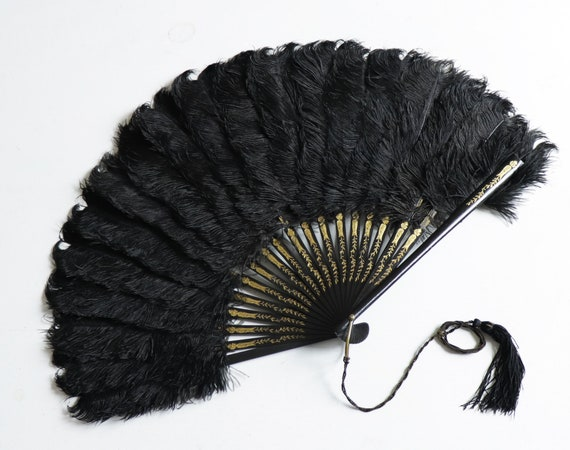 Antique 1900 Victorian black ostrich feathers hand