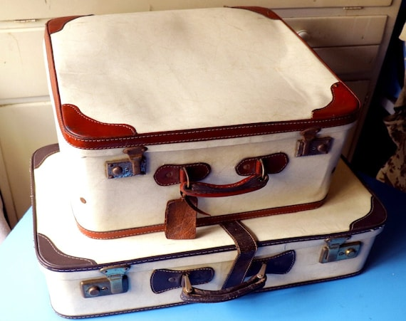 vintage 1950/'s white suitcases set of two