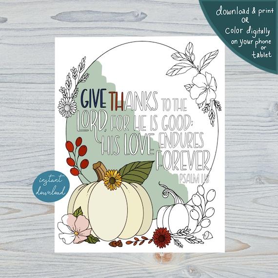 Gratitude Coloring Page Autumn Pumpkins Instant Download
