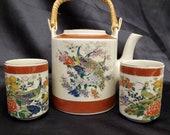 Vintage Tea Set Satsuma Raku Craze Peacock Floral w Gold Accents 1979