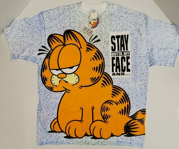 NWT All Over Print Garfield Stay Outta My Face T S