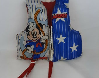 Vintage Disney Sailor Mickey Life Vest Jacket Child Small 30 - 50 lbs. USA Made