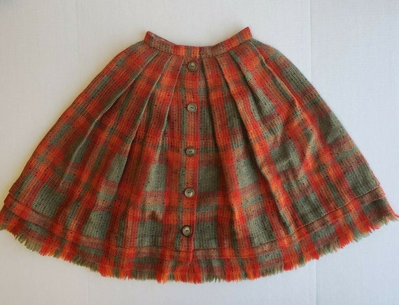 VTG 50's Nelly de Grab 100% Wool Plaid Pleated But