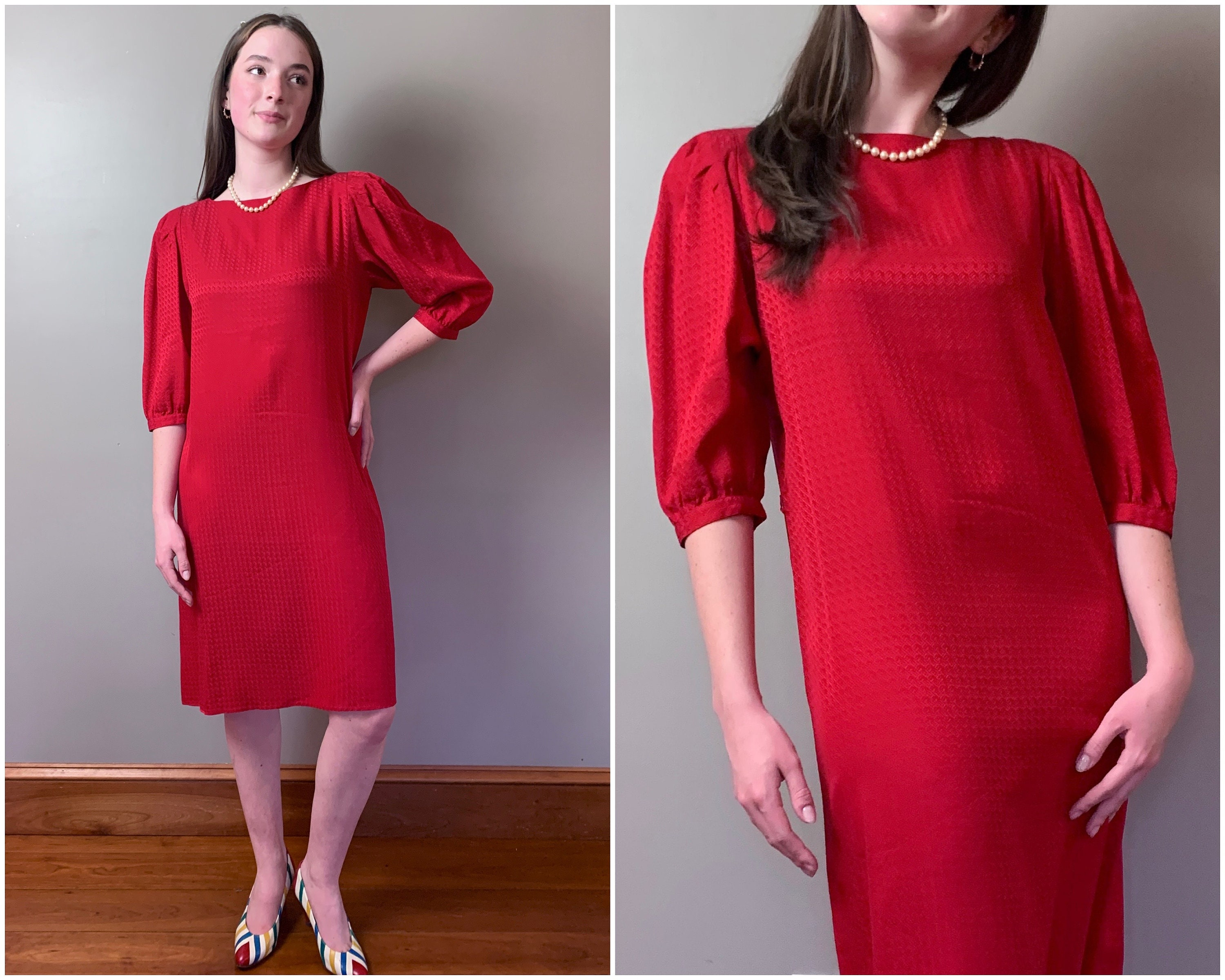 80s Dresses | Casual to Party Dresses Vintage 1980s Red Silk Dress80S Going Places Cherry Satin Shift Dress Summer Spring, Size Xs-S $52.00 AT vintagedancer.com