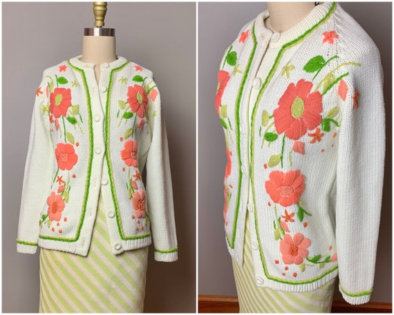1960s Vintage Fruit-Embroidered Cashmere Wool Blend Cardigan Sweater