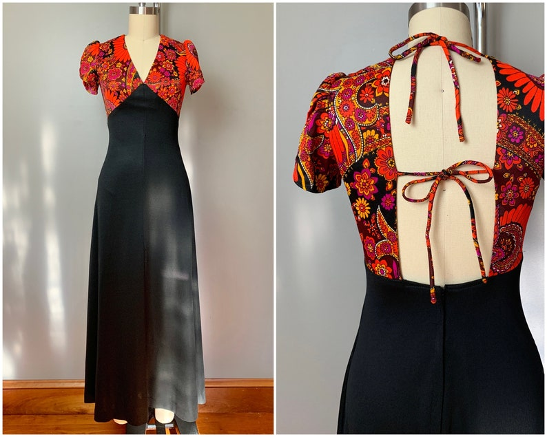 womens size XS 70s tie back maxi dress1970/'s summer orang floral tulip sleeve long dress tie back
