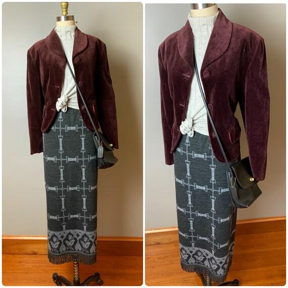 90s knit maxi skirt//1990s equestrian dark gray an