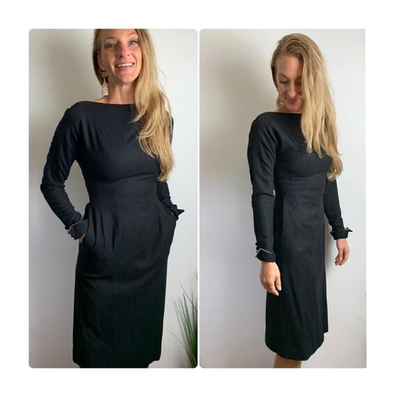 50s wool dress//1950s little black dress with high