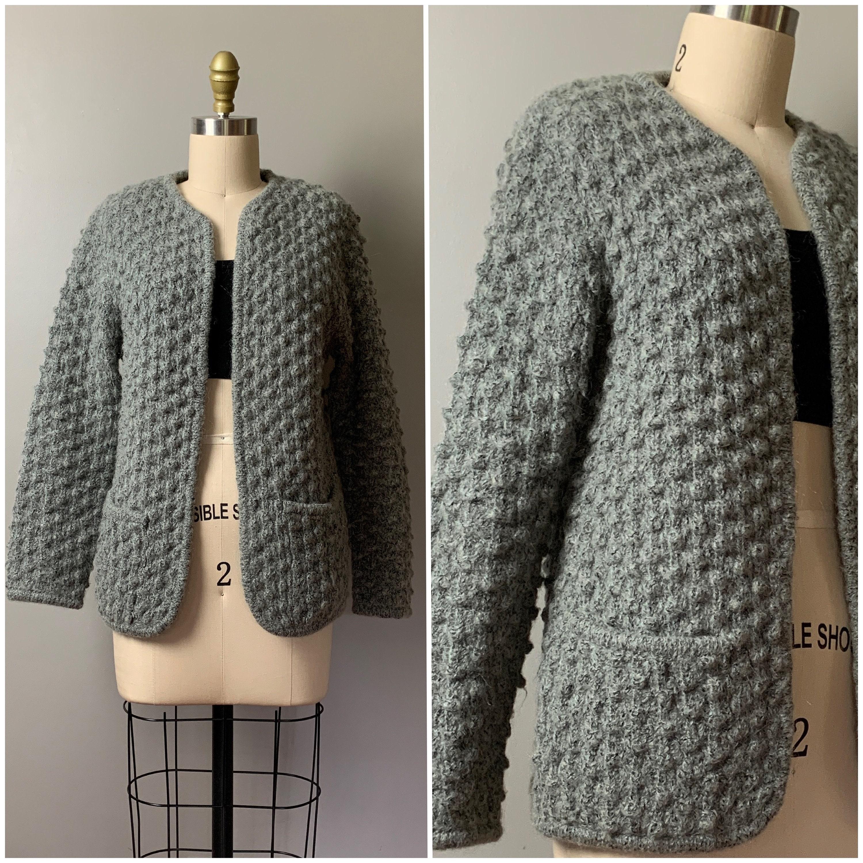 80s Sweatshirts, Sweaters, Vests | Women Vintage 1980s Popcorn Cardigan80S Leroy Knitwear Heathered Gray StitchWool Blend Open Sweater JacketSize Xs-S $42.00 AT vintagedancer.com