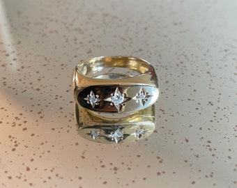 Sterling Silver CZ Gypsy Ring Gents Cubic Zirconia Signet Wed Band Gift Box Large Sizes