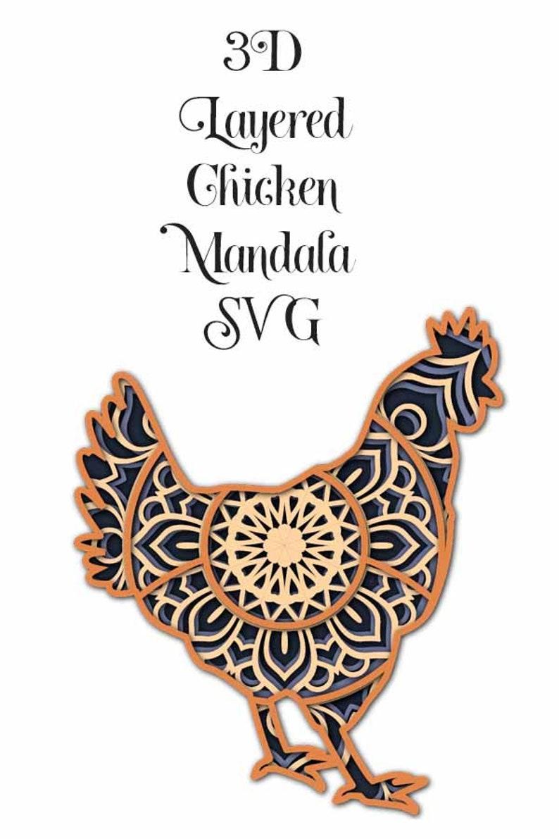 4 layers 3D Layered Chicken Mandala SVG file layered cut file