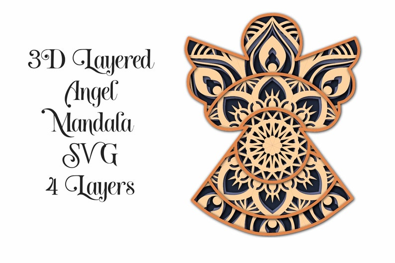 Download Angel SVG Layered Mandala for cutting machines 4 layers   Etsy