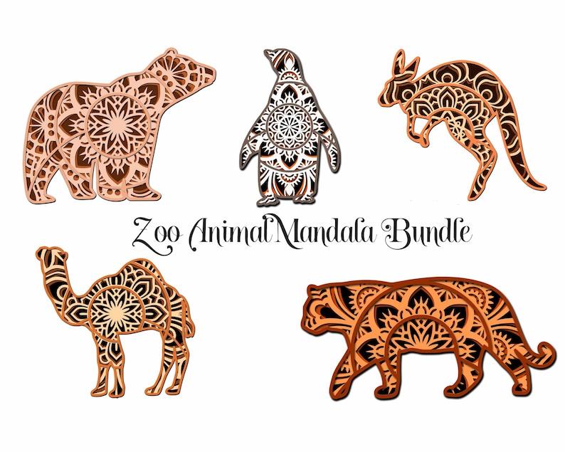Download Zoo Animal SVG Layered Mandala Bundle Camel Tiger Bear | Etsy