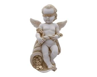 5.12 Baby Angel on Column Read a Book Greek Handmade Alabaster Statue 13cm