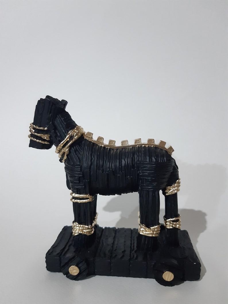 Trojan Horse Statue of Troy War Handmade Ancient Greek Mythology Alabaster Sculpture 15cm