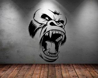 Gorilla Wall Decal Etsy