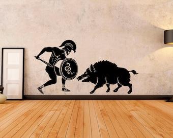 Wall Decal Animal Wild Boar Pig Tribal Ornament Mural Vinyl Decal Sticker 1865dz