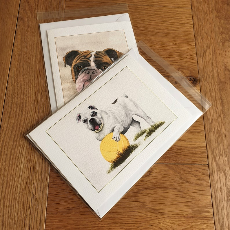 Duet of Bulldog with football and Bulldog Portrait Luxury blank greetings cardnotelet for use as A5 or A6 Poster Wall art gift.