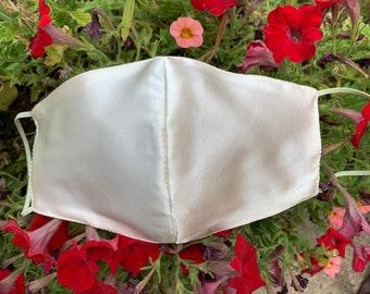 Ivory Satin Mask, White Satin Mask, Bridal Face Mask, Wedding Face Mask, Bridesmaid Mask, Wedding Party Mask, Made in USA, Silk, Chiffon