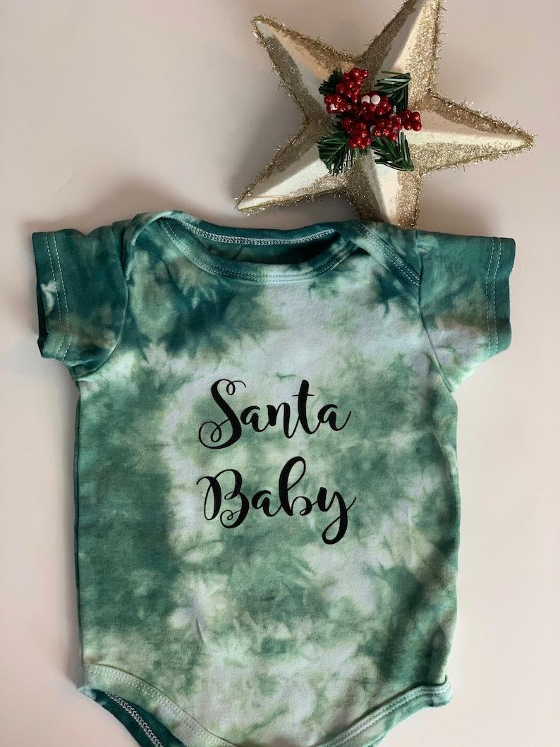 size 6 month green onesie ice dyed onesie Santa baby size 9 months Christmas onesie