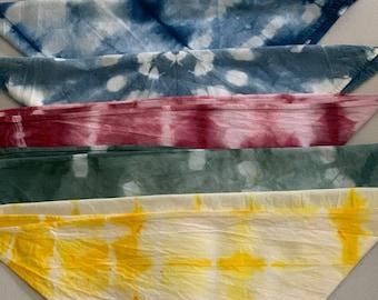 Shibori hand dyed bandanas, face masks, doggy bandana, shibori bandana,