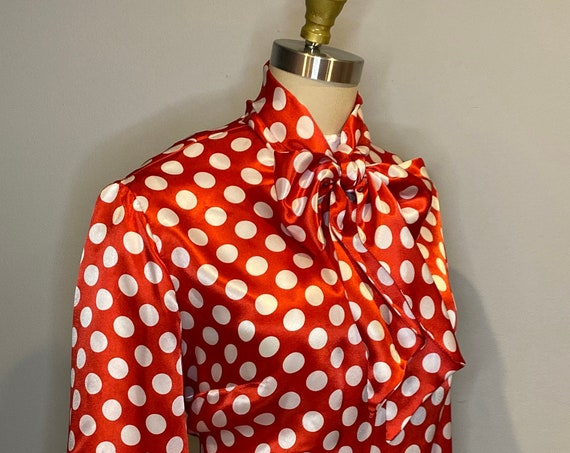 Red and White Polka Dot Pussy Bow Blouse
