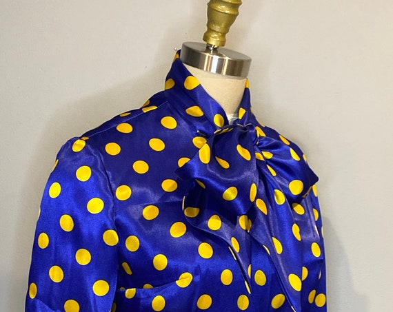Blue and Gold Polka Dot Pussy Bow Blouse