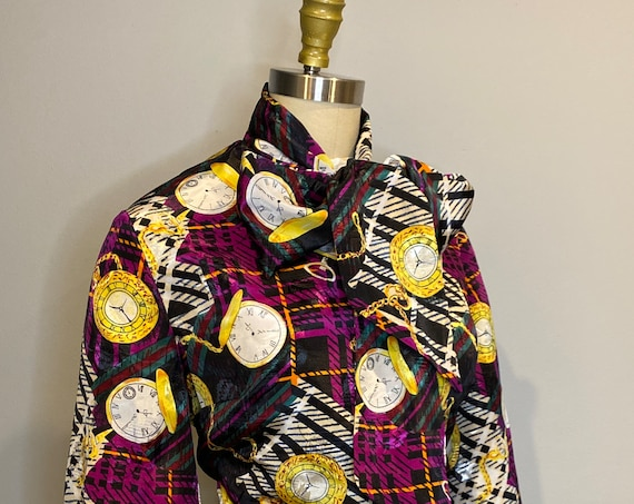 Black and purple Clock Design Pussy Bow Blouse Size 6-8
