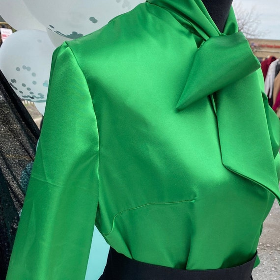 Green Charmeuse Satin Pussy Bow Blouse