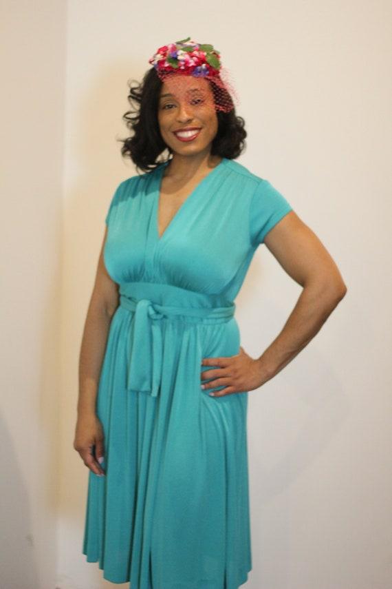 Vintage Teal V Neck Dress