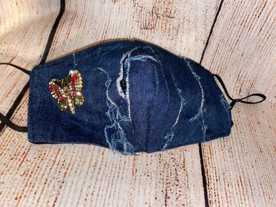 Distressed Denim mask with Butterfly brooch