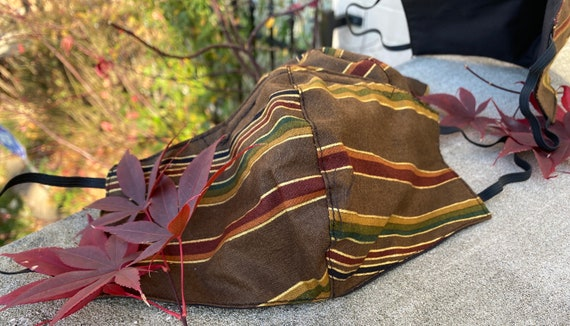 Brown Striped Fall 100% Cotton Face mask
