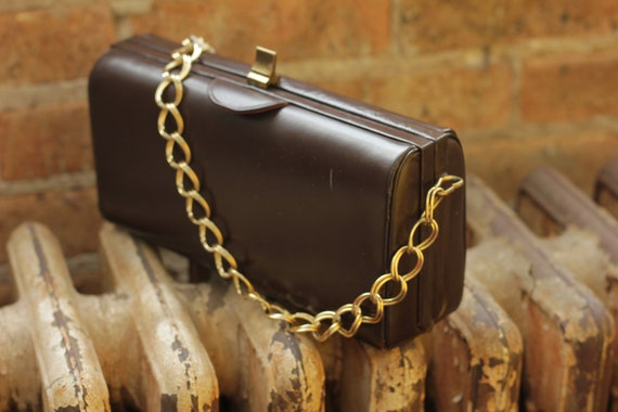 Vintage Brown Box clutch with chain link strap (not original chain link strap)